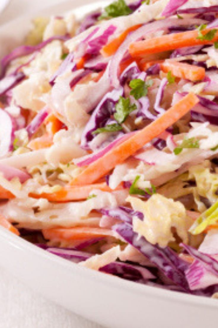 We eat fish most nights, almost any kind I can afford if I have to buy it. And there's no deprivation! I'll promise you! As a side to some of our fish dinners I'll often make this trail slaw and its always a big hit! Grab a print and try this for your next fish dinner! I promise you'll love it!